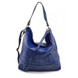 Kožená sýto modrá veľká kabelka cez rameno Laurel