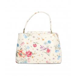 Kožená menšia biela kvetinova kabelka do ruky Kairi
