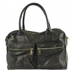 Veľká praktická čierna kožená kabelka cez rameno Adina