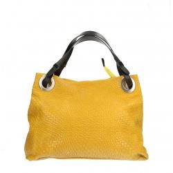Kožená žltá kabelka cez rameno Helene
