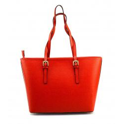 Kožená luxusná veľká sýto červená kabelka cez rameno Alisane