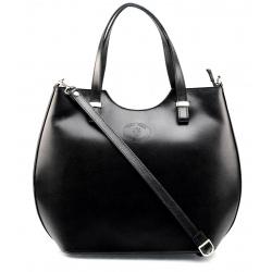 Kožená čierna kabelka do ruky Catherine