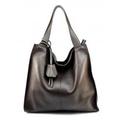 Veľká praktická tmavo hnedá kožená kabelka cez rameno Darci