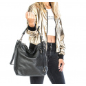 Väčšia luxusná hnedá taupe kožená kabelka cez rameno Denice