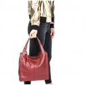 Väčšia moderná béžová kožená kabelka cez rameno Darci Little