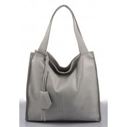 Kožená sivá veľká kabelka cez rameno Darci Little