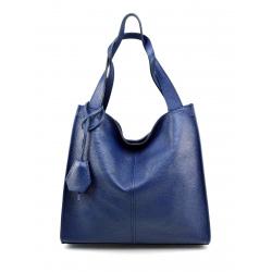 Kožená modrá veľká kabelka cez rameno Darci Little
