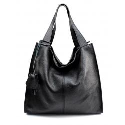 Kožená čierna veľká kabelka cez rameno Darci