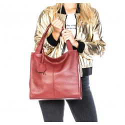 Kožená tmavo červená veľká kabelka cez rameno Darci Little