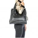 Väčšia moderná hnedá taupe kožená kabelka cez rameno Darci Little
