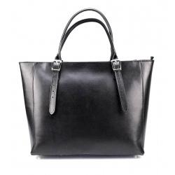 Kožená luxusná veľká čierna kabelka Havelan