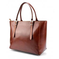 Kožená luxusná veľká hnedá kabelka Havelan