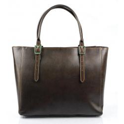 Kožená luxusná veľká tmavo hnedá kabelka Havelan