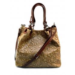 Kožená béžová kabelka cez rameno madeleine two