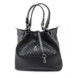 Štýlová atraktivna čierna kožená kabelka cez rameno Madeleine