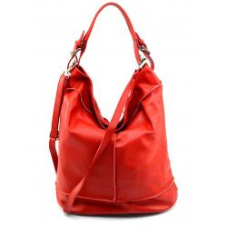 Väčšia štýlová sýto červená kožená kabelka cez rameno Adele Two