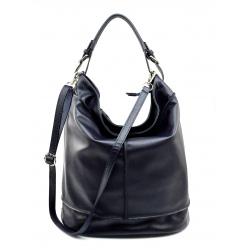 Väčšia štýlová tmavo modrá kožená kabelka cez rameno Adele Two