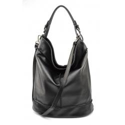 Kožená čierná veľká taška cez rameno adele two