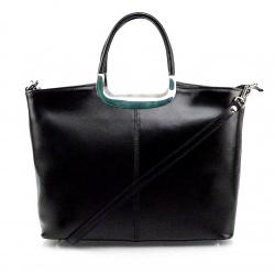 Kožená luxusná čierna kabelka AMELIA