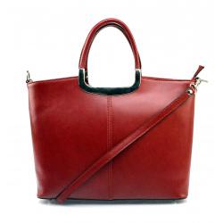Menšia štýlová tmavo červená kožená kabelka do ruky Amelia