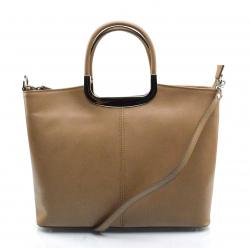 Kožená luxusná béžová kabelka Amelia