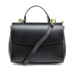 Kožená luxusní čierna kufríková kabelka joane