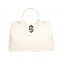 Kožená biela kabelka do ruky lila