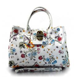 Kožená biela kvetinová kabelka do ruky lila