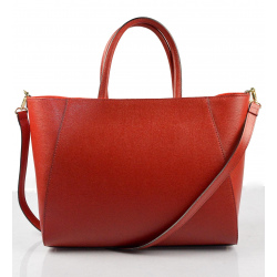 Nadčasová luxusná tmavo červená kožená kabelka do ruky Daveney