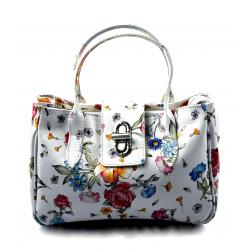 Kožená biela menšia kvetinová kabelka do ruky lila little