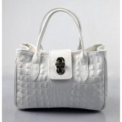 Kožená biela menšia kabelka do ruky lila little