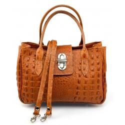 Kožená hnedá camel menšia kabelka do ruky lila little