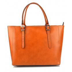 Kožená luxusná veľká mahaganovo hnedá kabelka Havelan
