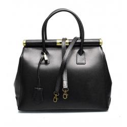Kožená luxusná čierna kabelka do ruky Look