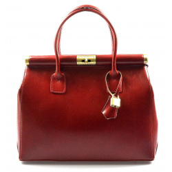 Kožená luxusná bordó kabelka do ruky Look