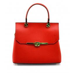 Menšia dizajnová sýto červená kožená kabelka do ruky Adeline Two