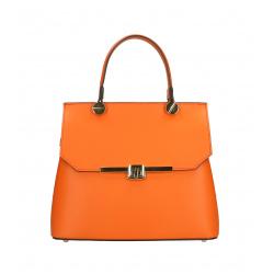 Kožená menšia oranžová luxusná kabelka do ruky adelina two