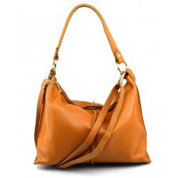 Kožená hnedá camel velká taška na rameno clarita