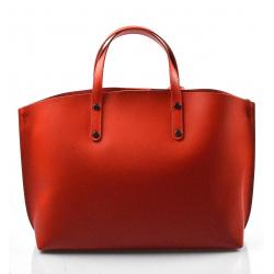 Kožená praktická sytě červená veľká taška do ruky Tanie 2v1