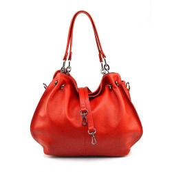 Kožená syto červená kabelka cez rameno lorreine