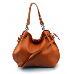 Kožená hnedá kabelka cez rameno i do ruky lorreine
