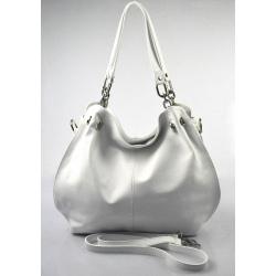 Kožená biela kabelka cez rameno i do ruky lorreine
