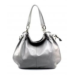 Kožená svetlo sivá kabelka cez rameno i do ruky Lorreine