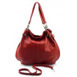 Kožená tmavo červená kabelka cez rameno Lorreine