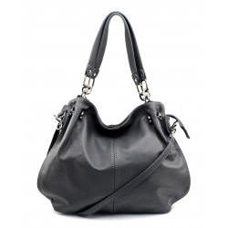 Kožená tmavo sivá kabelka cez rameno i do ruky Lorreine