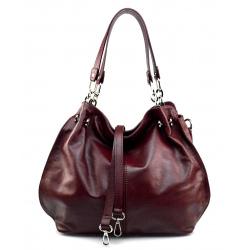 Kožená červená bordó kabelka cez rameno Lorreine