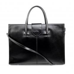 Kožená praktická čierna kabelka Business Two