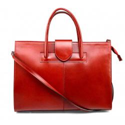 Priestorná jedinečná tmavo červená kožená kabelka do ruky Business Two