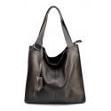 Väčšia moderná tmavo hnedá kožená kabelka cez rameno Darci Little