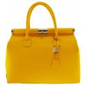 Štýlová luxusná sýto žltá kožená kabelka do ruky Aliste